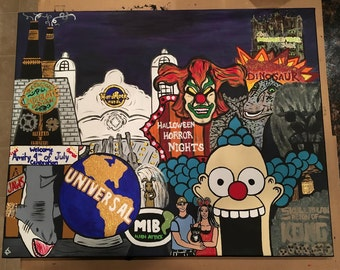 Custom Theme Park Collage Painting - Universal Studios Orlando, Walt Disney World, Florida Theme Parks
