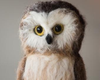 Owl- Northern Saw-whet Owl needle felted handmade wool bird