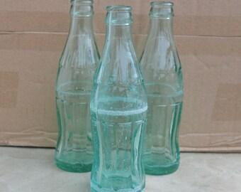 Coca Cola bottle - Distressed bottle - Green glass - Rare Coca Cola bottle - 200ml Set of 3 Coca bottle - Glass bottle - No Coca Cola logo