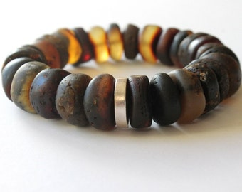 Amber bracelet for men, unpolished amber bracelet, dark amber bracelet, amber jewelry, natural Baltic amber, bracelet for him, gift for him