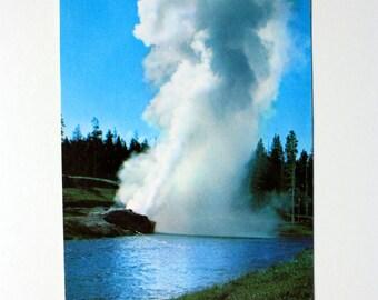 Riverside Geyser Postcard 1958 / Vintage Yellowstone Souvenir / Yellowstone National Park Postcard / Yellowstone Postcard Upper Geyser Basin