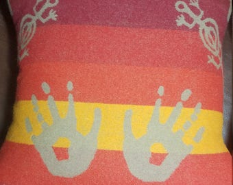 Desert sunset with handprint and gecko Pillow made with Pendleton® fabric