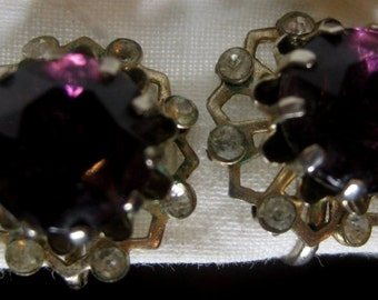 Vintage Purple Rhinestone Screw Back Earrings
