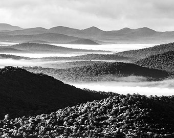 Adirondack Mountain, Black and White, BW,  Landscape Photography, Nature Photography, Fine Art Photography, Adirondack Decor, Home Decor