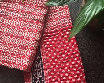 Handmade kantha quilt, gudri throw, kantha table cloth
