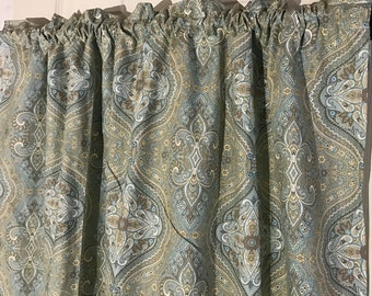 Waverly home decor blue and tan french country Curtain Valance