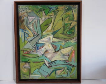 The Stream 1960 Large Abstract, Mid-Century Modern Oil Painting On Canvas Artist Signed Housz.