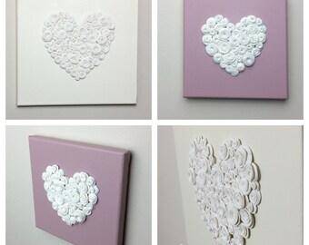 Heart Gift Wall Decor Wall Hanging - Heart Home Decor - choice of canvas & heart colour