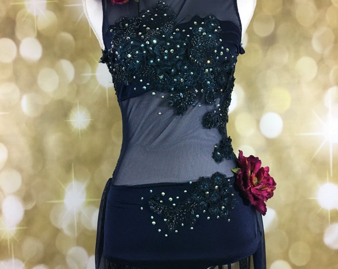 Custom Midnight Blue/Black/Burgundy Dance Costume, lyrical dance costume, Custom Dance Costume, dance costume for competion