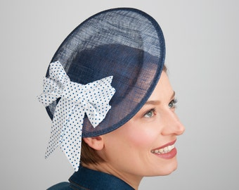 Fascinator Blue White