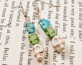 Day of the Dead Skull Earrings, Stacked Skull Earrings, Bone Chilling Earrings, October Earrings, Skull Jewelry, Gothic Earrings