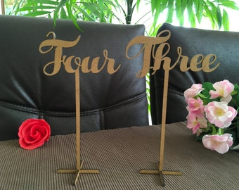 Wooden wedding table numbers on sticks, Script table numbers, Freestanding table numbers with base, Flower arrangement table numbers