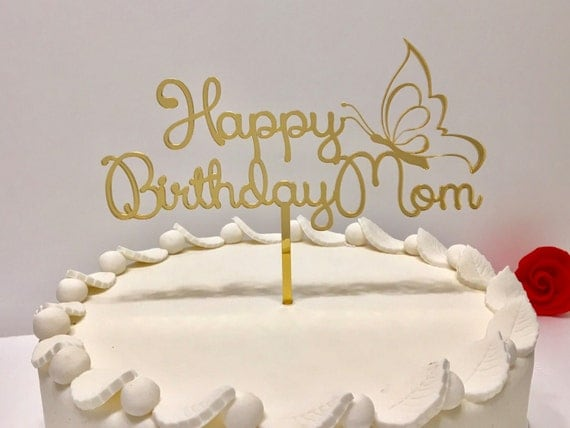 Happy Birthday cake topper, Happy Birthday pick, Personalised birthday cake topper on stick Custom birthday cake topper, Gold mirror cupcake