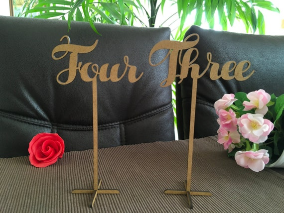 Freestanding wedding table numbers Calligraphy table numbers Script table numbers stand Wooden table numbers Cursive table number on sticks