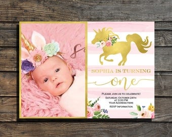 Unicorn birthday invitation Photo birthday invitation Unicorn invitation Unicorn invite Girl First birthday invitation pink and gold floral