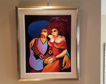 Original Earl Biss Oil Painting on Canvas, a Dance with Big Red at the Fiesta, 1989, Strange Imports