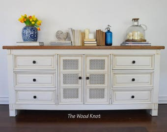 SOLD - Rustic farmhouse off white and brown wax dresser/sideboard. Chalk paint, Cottage  Chic.