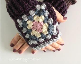 Crochet Wrist Warmers ,Granny Square,Fingerless Gloves, Crochet Gloves ,Fingerless Mittens ,Mothers Day gift,handmade gift.