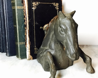 Vintage Cast Bronze Horse Head with Front Legs Bookend