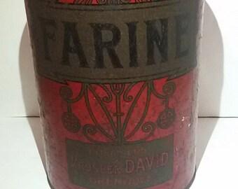 Large tin box Prosper David Grenoble / chocolate box the back / Antique french tin flour box.