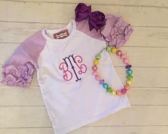 SALE SUMMER BLOWOUT ! Toddler girls ruffled lavender  ruffled raglan, Girls Monogrammed ruffled sleeve shirt with lavender sleeves