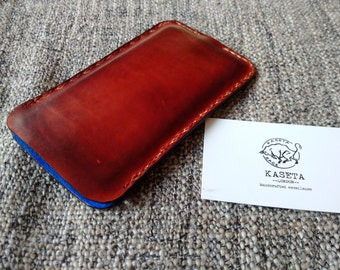 iPhone 6 6s 7 Leather Sleeve, Leather pouch 'Old Mahogany'
