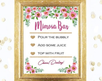 Bridal Shower Game Sign - Mimosa Bubbly Bar Sign - Pink Floral Peony Sign -Baby Shower Printable Digital Download - Birthday Party Printable
