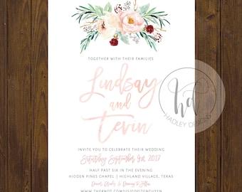 Floral Wedding Invitation, Formal Wedding Invitation, Elegant Wedding Invitation,  Traditional Wedding Invite, Modern Wedding Invitation