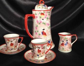 Vintage Geisha Chocolate Pot  2 teacups saucers and Creamer/vintage 1930s Japanese Moriage Orage Geisha Girls Teapot cup saucers/Geisha Girl