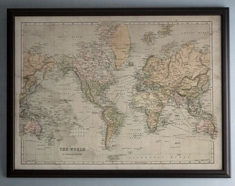 World Map: A Mercator's Projection Map - Circa 18th C. - Weathered Map