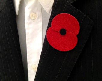 Remembrance day red poppy boutonniere for gentleman attire, handmade lapel pin in genuine Alcantara leatherette. READY FOR SHIPPING!