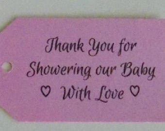 Favor Tags, Baby Shower Tags, Baby Shower Favor, Baby Shower Girl, Favor Tags, Thank You Tags, Kraft Tags, Baby Party, Baptism, Thank You