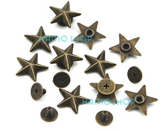 40pcs Metal Star Rivets Studs Spikes Spots Buttons for Leather Belt Craft Bag 4 Colors