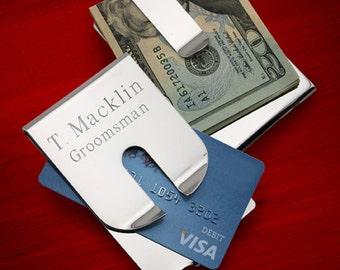 Engraved Money Clip - Credit Card Holder - Polished Silver Travel Wallet - Mens Money Clip Wallet Alternative