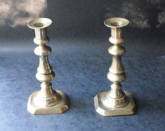 """Victorian Brass Ejector Candlestick Candle Holders 8 1/2"""""""