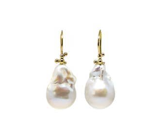 Oysters and Caviar Baroque Pearl and 18 Karat Gold Earrings