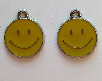 Yellow Smiley Face Charms (2)