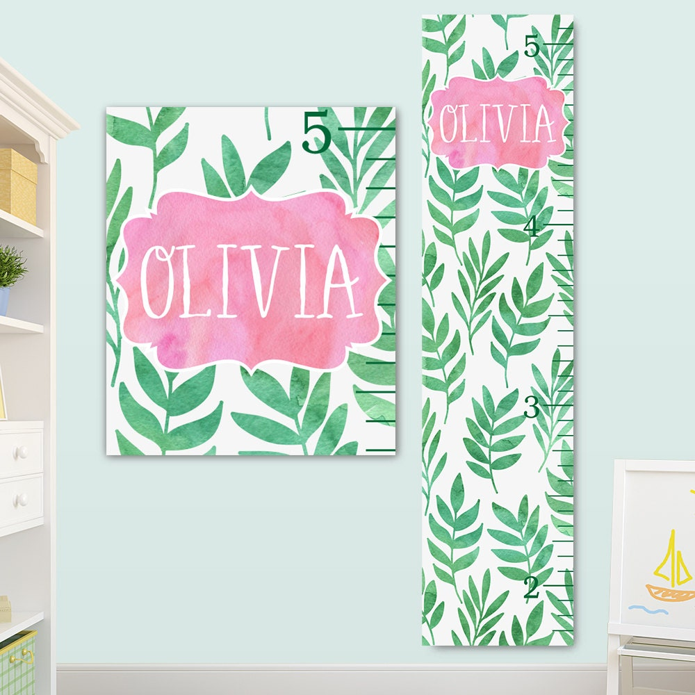Personalized growth chart with watercolor palm leaf print jolieprints nvjuhfo Gallery