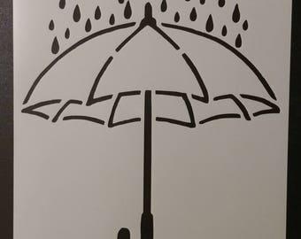 Umbrella Rain Rainy Day Custom Stencil FAST FREE SHIPPING