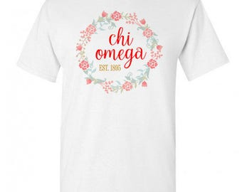 Chi Omega Maicy Floral Tees