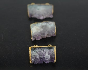 Natural Drusy Amethyst Druzy Geode slab Connector,Plated Gold Edges Raw Crystal Quartz Double buckle Freedom Slice Pendant