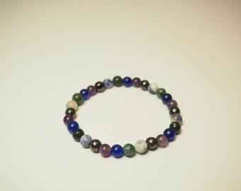 Hematite, Jasper, Aventurine, Amethyst,  Sodalite Bracelet for Anxiety & Depression /Reiki Healing Jewelry/Healing Crystal Gemstone