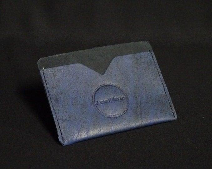 Pocket Wallet - Blue Art (5of5) - Kangaroo leather with RFID credit card blocking - Handmade - James Watson