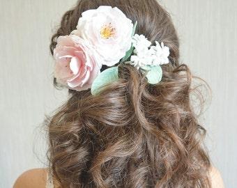 Peony hair pins Peony rose hair pins Blush peonies flower hair pins Wedding hair flowers Peony flower crown Bridal flower crown bridal peony