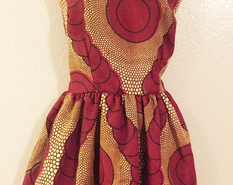 African Print Round Neck Flared Dress- burgundy