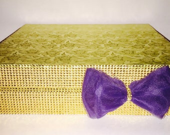 """GOLD CAKE STAND Navy Blue Tulle Bow  23 Color Selections Sizes 8"""", 10"""", 12"""", 14"""", 16"""", 18"""", 20"""""""