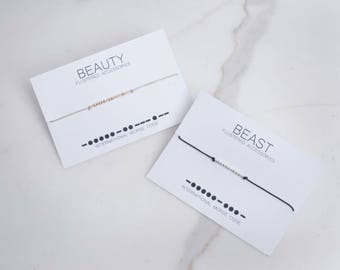 Beauty and Beast Morse Code Bracelets, Couples Jewelry, Couples Bracelets, Morse Code, Morse Code Jewelry