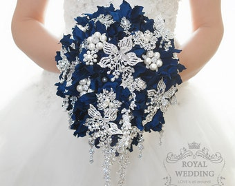 Wedding Brooch Bouquet Cascading Brooch Bouquet Bridal Bouquet Bridesmaids Bouquet Navy Blue Bouquet Custom Bouquet Hydrangea Bouquet