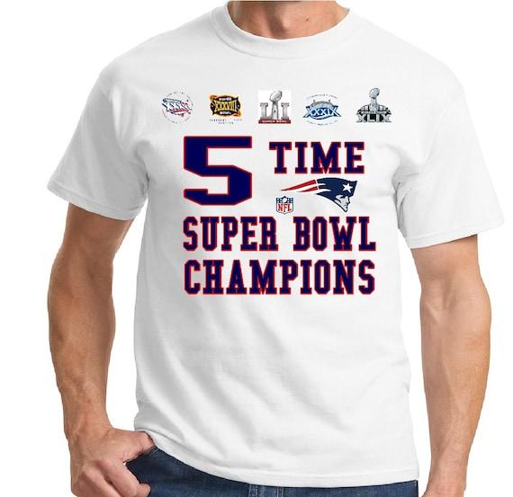 New England Patriots 5 Time Super Bowl Champion T Shirt