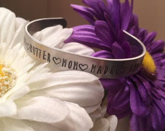 Mother's Day Hand Stamped Metal Bracelet